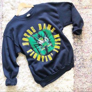 Vintage | Notre Dame Blue College Sweatshirt XL